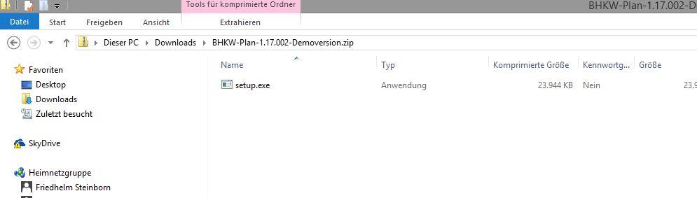 Bild Setupprogramm in der Zip-Datei