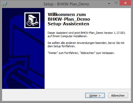 Installation Demoversion BHKW-Plan