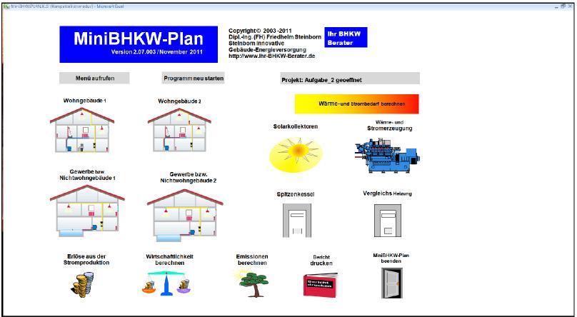 Berechnung einer Schule mit MiniBHKW-Plan