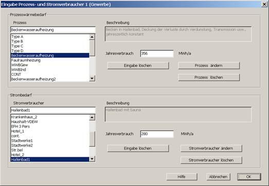 Eingabe Prozesswärme und Stromabrechnung mit MiniBHKW-plan