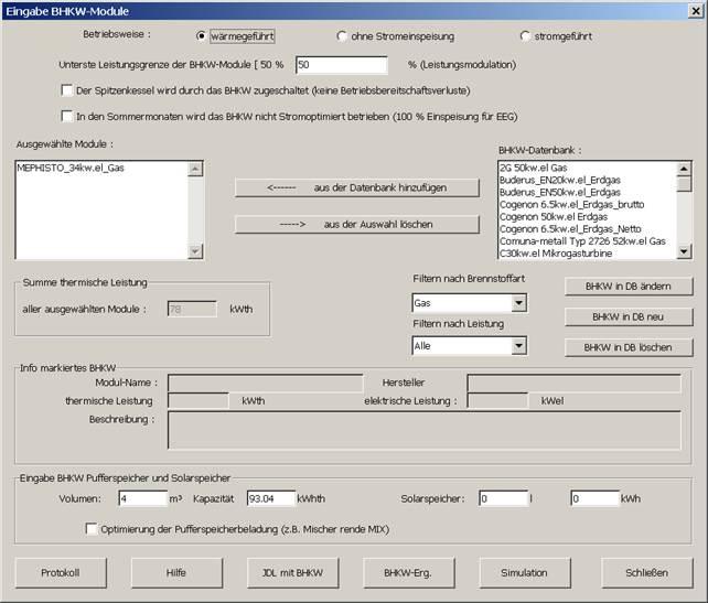Eingabe für BHKW Simulation mit MiniBHKW-Plan