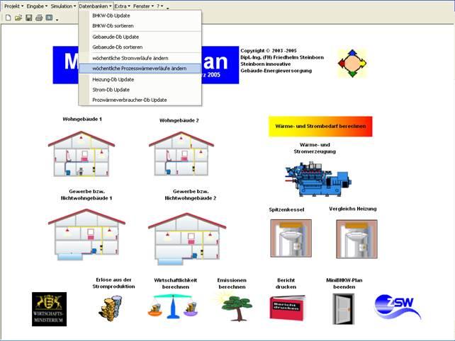 Benutzeroberfläche MiniBHKW-Plan