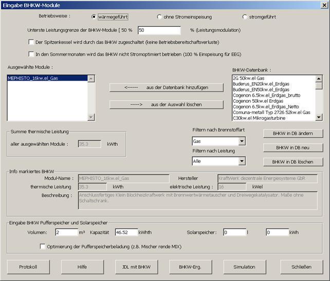 BHKW Simulation mit MiniBHKW-Plan