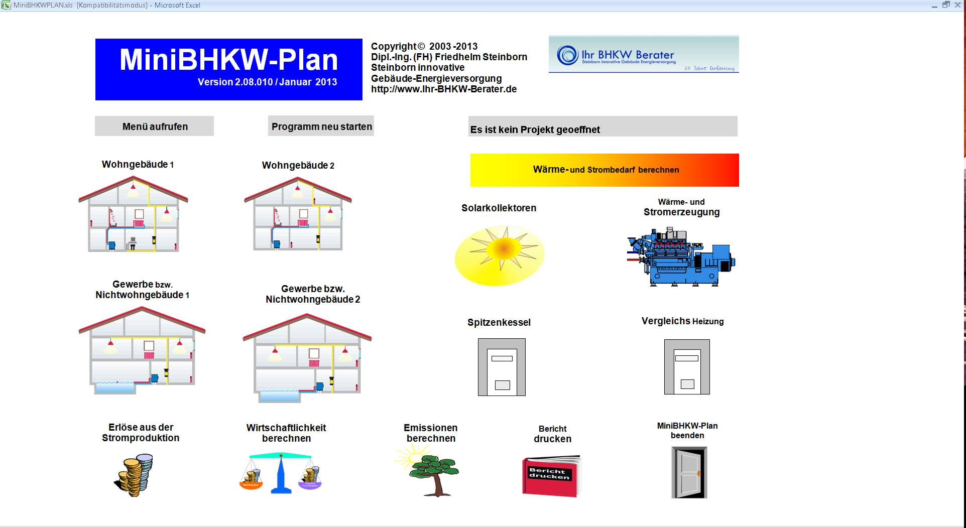 Oberfläche der Software MiniBHKW-Plan
